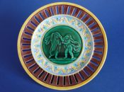 Wedgwood Majolica 'Email Ombrant' Masked Putti Reticulated Plate c1868